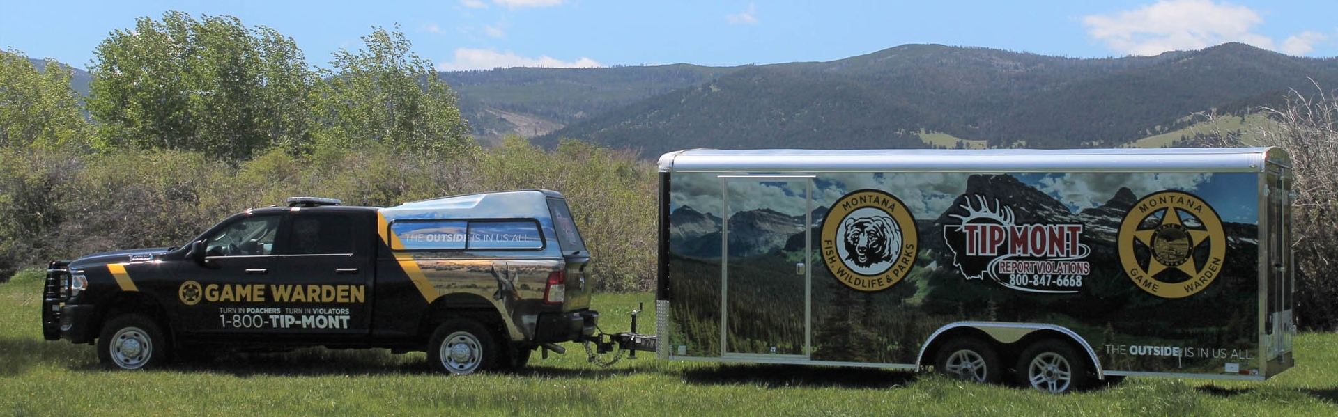 FWP Game Warden truck and TIPMONT trailer