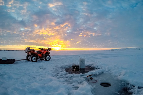 Ice fishing with ATV