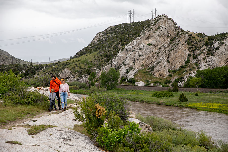 People hiking at Missouri Headwaters State Park