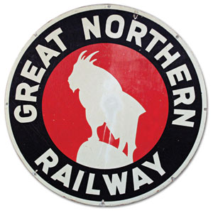 Great Northern Railway logo showing a mountain goat outline.